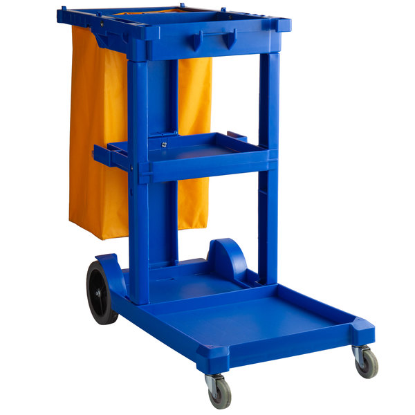 47582329c650 Lavex Janitorial Cleaning Cart / Janitor Cart with 3 Shelves and Vinyl Bag