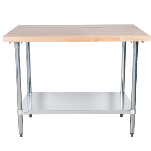 """Advance Tabco H2G-244 Wood Top Work Table with Galvanized Base and Undershelf - 24"""" x 48"""""""