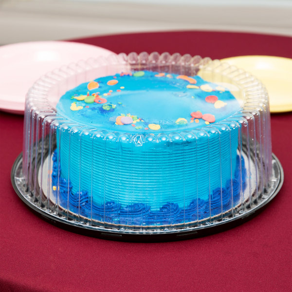 """D&W Fine Pack G33-1 10"""" 1-2 Layer Cake Display Container with Clear Dome Lid - 10/Pack"""