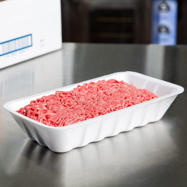 """Genpak 1010K (#10K) Foam Meat Tray White 10 3/4"""" x 5 3/4"""" x 2"""" - 250/Case"""