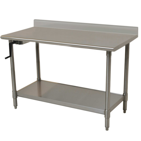 "Left Crank Case Eagle Group T3048SEB-BS-HA 16 Gauge Type 304 Stainless Steel Adjustable Height ADA / Ergonomic Work Table with Backsplash and Undershelf - 30"" x 48"""
