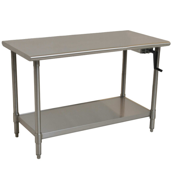 "Eagle Group T3048SE-HA Right Crank 14 Gauge Type 304 Stainless Steel Adjustable Height ADA / Ergonomic Work Table with Undershelf - 30"" x 48"""