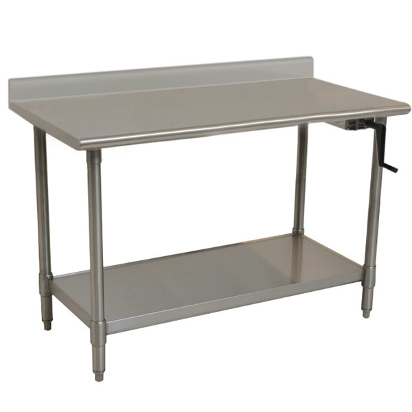 "Right Crank Case Eagle Group T3048SEB-BS-HA 16 Gauge Type 304 Stainless Steel Adjustable Height ADA / Ergonomic Work Table with Backsplash and Undershelf - 30"" x 48"""