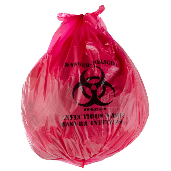 "30 Gallon 33"" X 40"" Red Isolation Infectious Waste Bag / Biohazard Bag High Density 17 Microns - 250/Case"