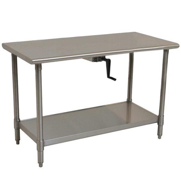 "Eagle Group T2460SE-HA Center Crank 14 Gauge Type 304 Stainless Steel Adjustable Height ADA / Ergonomic Work Table with Undershelf - 24"" x 60"""