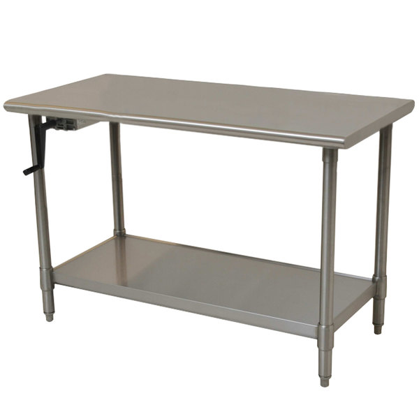 "Eagle Group T3048SEB-HA Left Crank 16 Gauge Type 304 Stainless Steel Adjustable Height ADA / Ergonomic Work Table with Undershelf - 30"" x 48"""