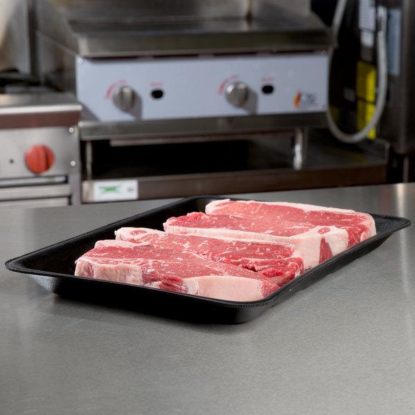 """Genpak 1014 (#10X14) Foam Meat Tray Black 10"""" x 13 7/8"""" x 1 1/4"""" - 100/Case"""