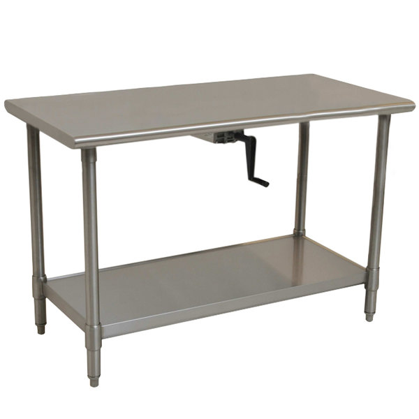 "Eagle Group T3060SEB-HA Center Crank 16 Gauge Type 304 Stainless Steel Adjustable Height ADA / Ergonomic Work Table with Undershelf - 30"" x 60"""