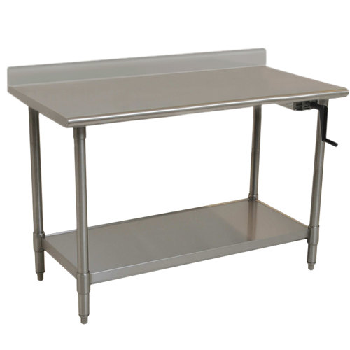 "Right Crank Case Eagle Group T3060SE-BS-HA 14 Gauge Type 304 Stainless Steel Adjustable Height ADA / Ergonomic Work Table with Backsplash and Undershelf - 30"" x 60"""
