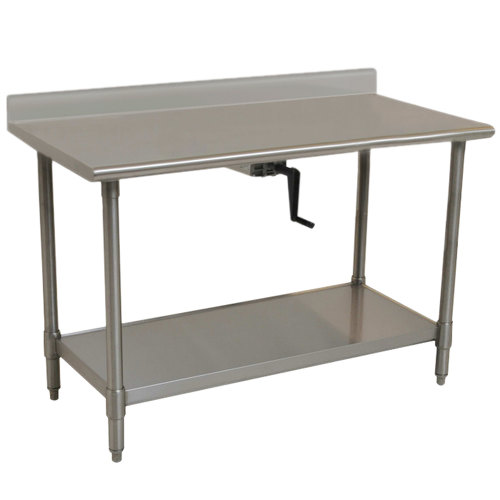"Center Crank Case Eagle Group T2460SE-BS-HA 14 Gauge Type 304 Stainless Steel Adjustable Height ADA / Ergonomic Work Table with Backsplash and Undershelf - 24"" x 60"""