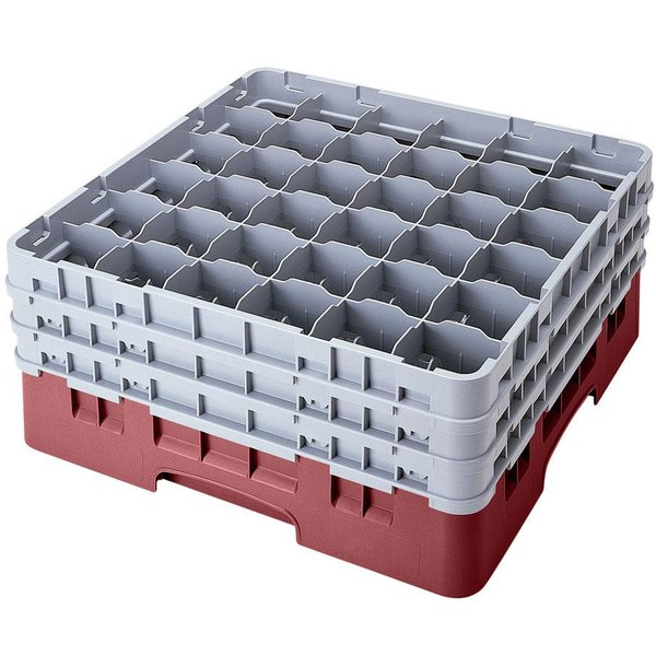 """Cambro 36S1114163 Red Camrack Customizable 36 Compartment 11 3/4"""" Glass Rack"""