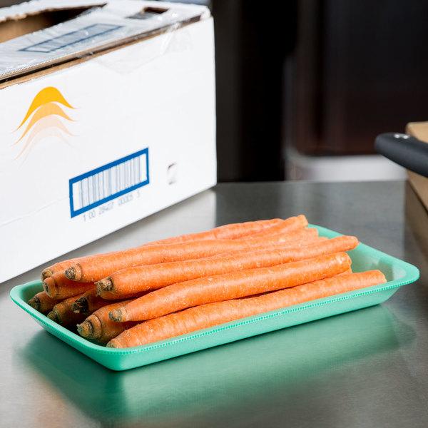 """Genpak 1005 (#5) Foam Meat Tray Green 10 1/4"""" x 5 1/4"""" x 3/4"""" - 125/Pack"""