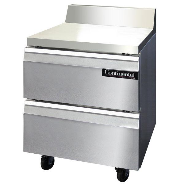 "Continental Refrigerator SWF27-BS-D 27"" Worktop Freezer with Drawers and Backsplash"