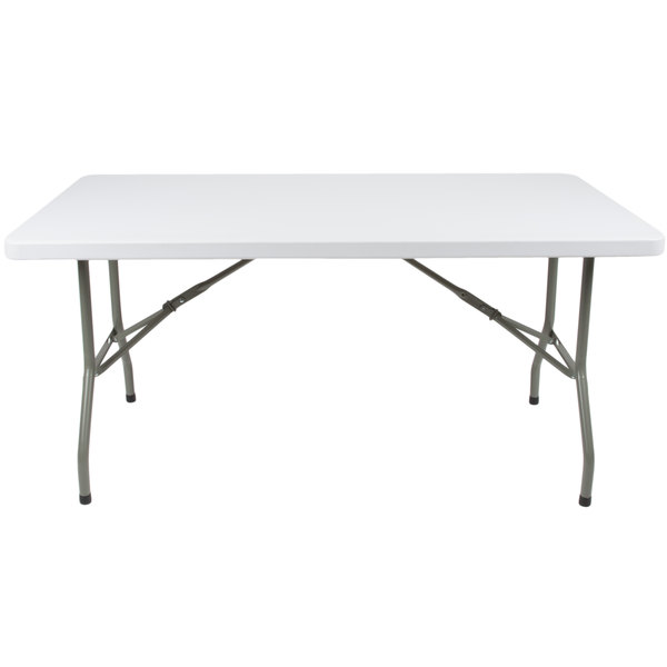 Lancaster Table & Seating 30 inch x 60 inch Heavy Duty White Granite Plastic Folding Table