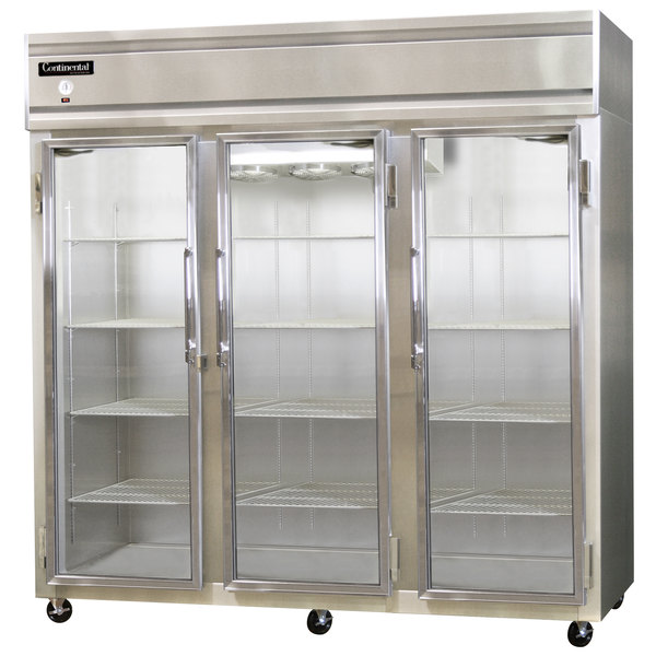 "Continental Refrigerator 3RE-GD 85"" Three Section Extra Wide Glass Door Reach-In Refrigerator - 73 cu. ft."