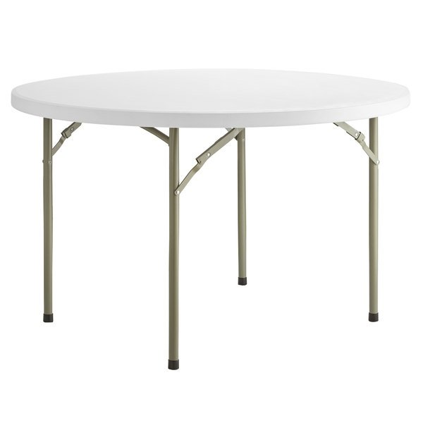 "Lancaster Table & Seating 48"" Round Heavy-Duty Granite White Plastic Folding Table Main Image 1"