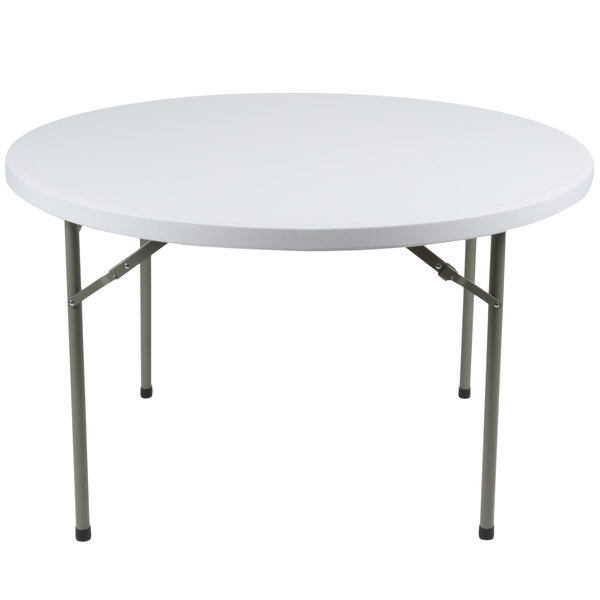 Lancaster Table & Seating 48 inch Round Heavy Duty White Granite Plastic Folding Table