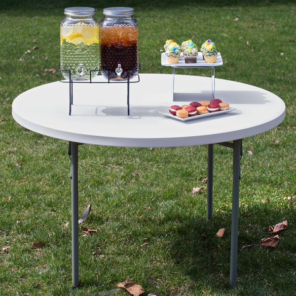 "Lancaster Table & Seating 48"" Round Heavy Duty Granite White Plastic Folding Table"