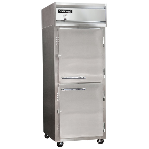 """Continental Refrigerator 1RX-SS-HD 36"""" One Section Extra Wide Stainless Steel Half Door Reach-In Refrigerator - 30 cu. ft."""