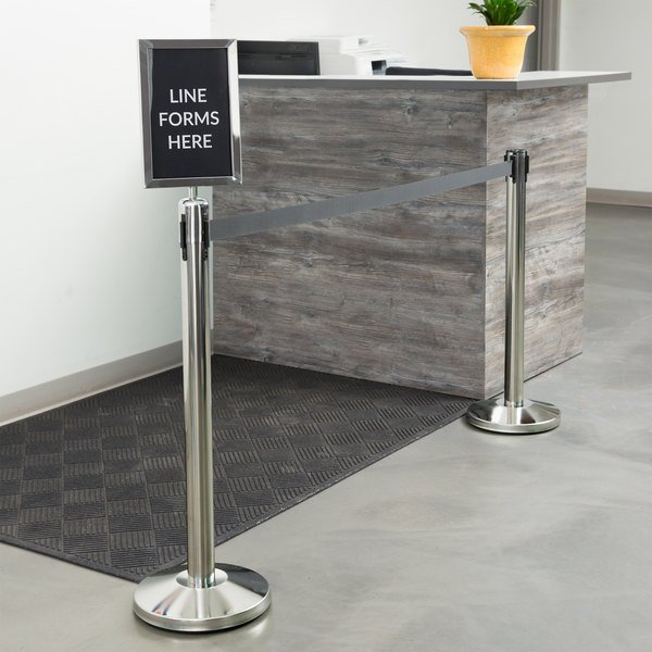 Marvelous Lancaster Table Seating Stainless Steel Silver 36 Crowd Control Guidance Stanchion Kit Including Frame Sign Set With Clear Covers Home Interior And Landscaping Pimpapssignezvosmurscom