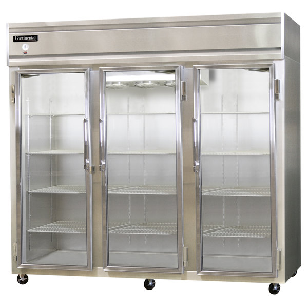 "Continental Refrigerator 3R-GD 78"" Three Section Glass Door Reach-In Refrigerator - 70 cu. ft."