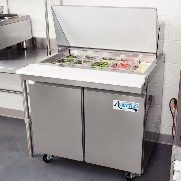 """Avantco SCLM2-36 36"""" 2 Door Mega Top Refrigerated Sandwich Prep Table"""