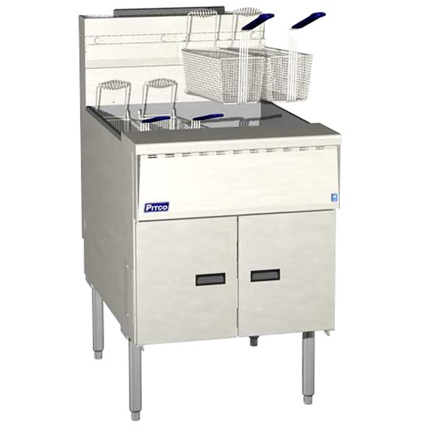 Pitco® SGM24-SSTC MegaFry Natural Gas 140-150 lb.Floor Fryer with Solid State Thermostatic Controls - 165,000 BTU