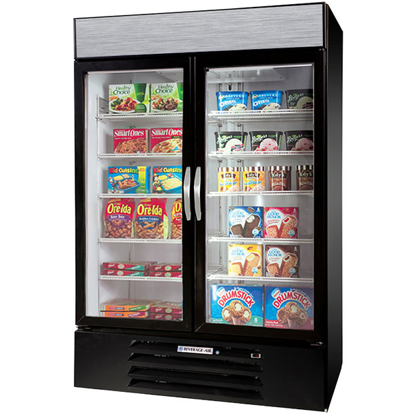 """Beverage-Air MMF49-1-B-EL-LED MarketMax 52"""" Black Two Section Glass Door Merchandiser Freezer with Electronic Lock - 49 cu. ft. Main Image 1"""