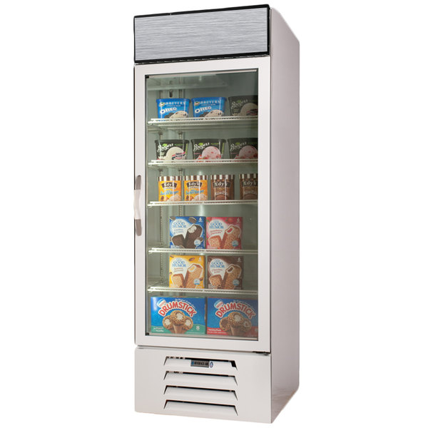 """Beverage-Air MMF23-1-W-EL-LED MarketMax 27"""" White One Section Glass Door Merchandiser Freezer with Electronic Lock - 23 cu. ft. Main Image 1"""