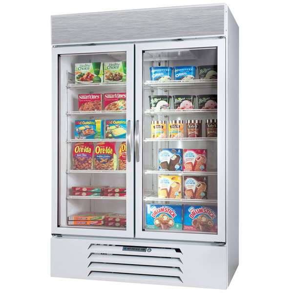 "Beverage-Air MMF44-1-W-EL-LED MarketMax 47"" White Two Section Glass Door Merchandiser Freezer with Electronic Lock - 45 cu. ft. Main Image 1"