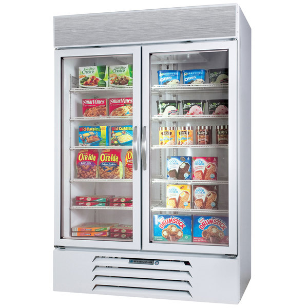 """Beverage-Air MMF49-1-W-EL-LED MarketMax 52"""" White Two Section Glass Door Merchandiser Freezer with Electronic Lock - 49 cu. ft. Main Image 1"""