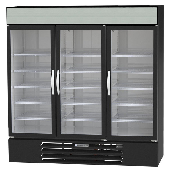 "Beverage-Air MMF72-5-B-EL-LED MarketMax 75"" Black Three Section Glass Door Merchandiser Freezer with Electronic Lock - 72 cu. ft."