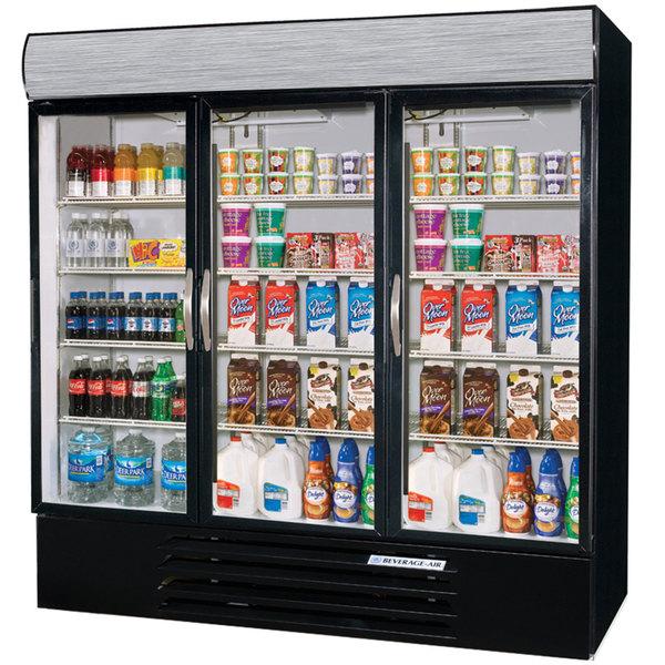"Beverage-Air MMF72-5-B-EL-LED MarketMax 75"" Black Three Section Glass Door Merchandiser Freezer with Electronic Lock - 72 cu. ft."
