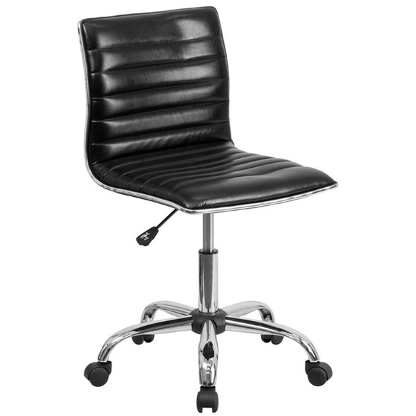 Flash Furniture DS-512B-BK-GG Mid-Back Designer Ribbed Black Leather Office Chair / Task Chair