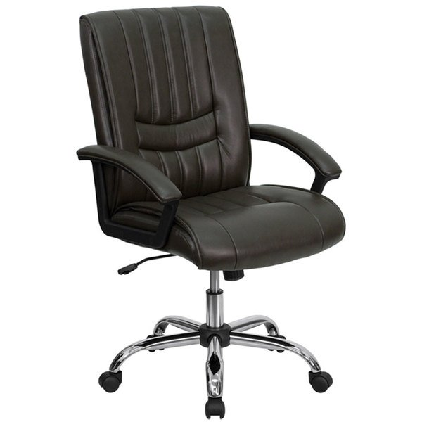 Flash Furniture BT-9076-BRN-GG Mid-Back Espresso Brown Leather Manager's Office Chair with Chrome Finished Base Main Image 1