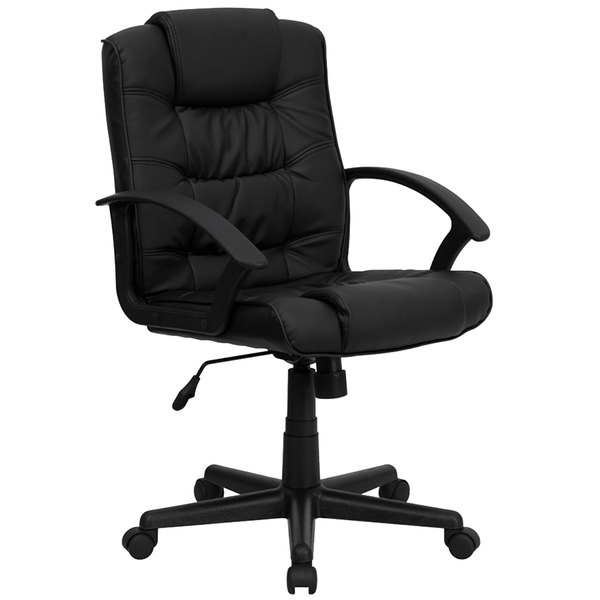 Flash Furniture GO-937M-BK-LEA-GG Mid-Back Black Leather Executive Office Chair with Arms and Spring Tilt Control
