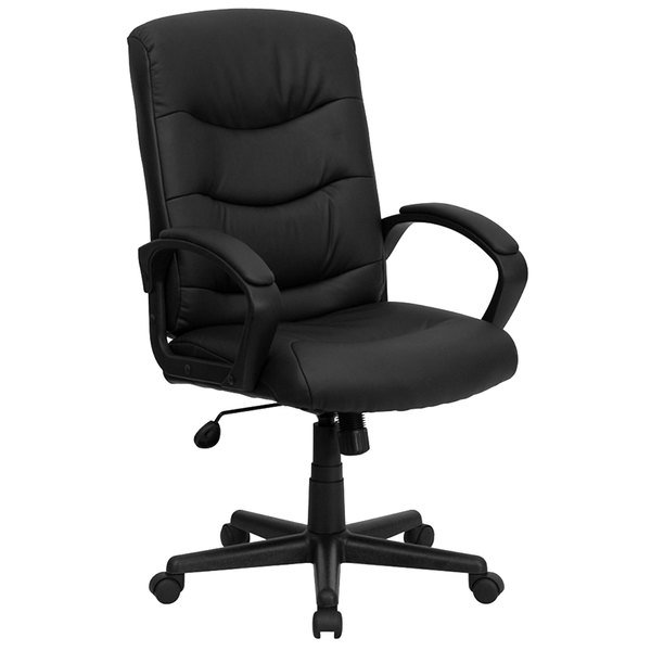 Flash Furniture GO-977-1-BK-LEA-GG Mid-Back Black Leather Executive Office Chair with Padded Arms and Tilt Lock Mechanism Main Image 1