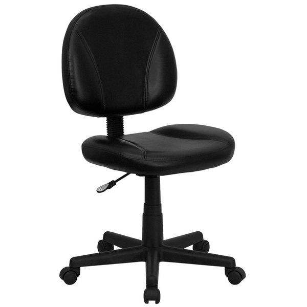 Flash Furniture BT-688-BK-GG Mid-Back Black Leather Ergonomic Office Chair / Task Chair Main Image 1