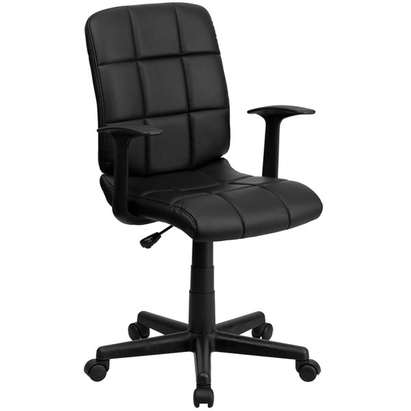 Flash Furniture GO-1691-1-BK-A-GG Mid-Back Black Quilted Vinyl Office Chair / Task Chair with Arms