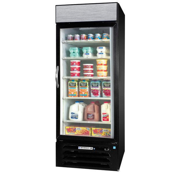 "Beverage-Air MMR27-1-B-EL-LED MarketMax 30"" Black One Section Glass Door Merchandiser Refrigerator with Electronic Lock - 27 cu. ft. Main Image 1"