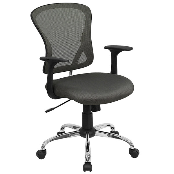 Flash Furniture H-8369F-DK-GY-GG Mid-Back Dark Gray Mesh Office Chair with Arms, Padded Seat, and Chrome Base Main Image 1