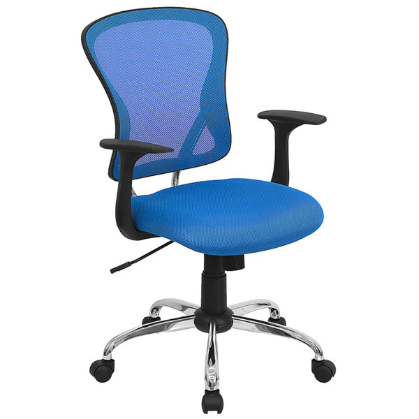 Flash Furniture H-8369F-BL-GG Mid-Back Blue Mesh Office Chair with Arms, Padded Seat, and Chrome Base Main Image 1