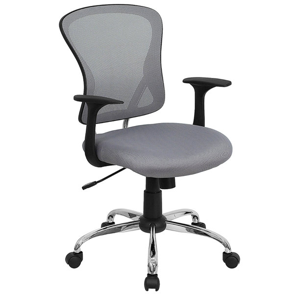 Flash Furniture H-8369F-GY-GG Mid-Back Gray Mesh Office Chair with Arms, Padded Seat, and Chrome Base Main Image 1