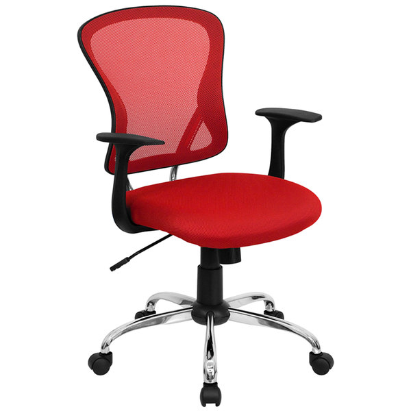 Flash Furniture H-8369F-RED-GG Mid-Back Red Mesh Office Chair with Arms, Padded Seat, and Chrome Base