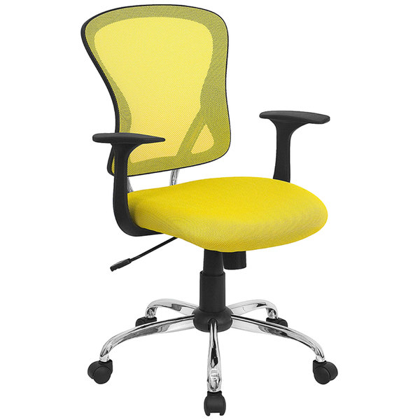 Flash Furniture H 8369f Yel Gg Mid Back Yellow Mesh Office Chair With Arms Padded Seat