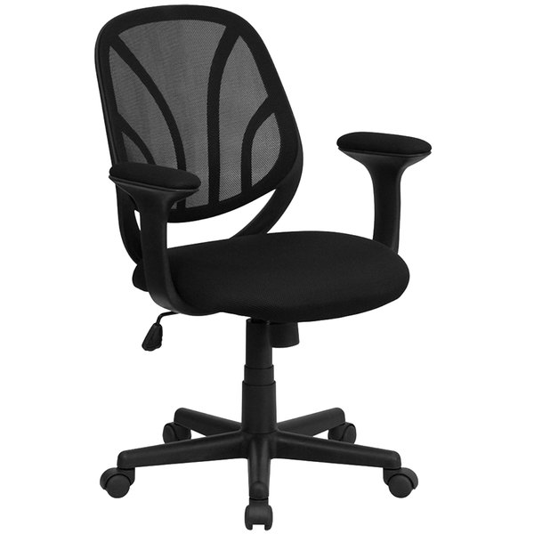 Flash Furniture GO-WY-05-A-GG Mid-Back Black Mesh Computer / Task Chair with Upholstered Seat and Padded Arms Main Image 1