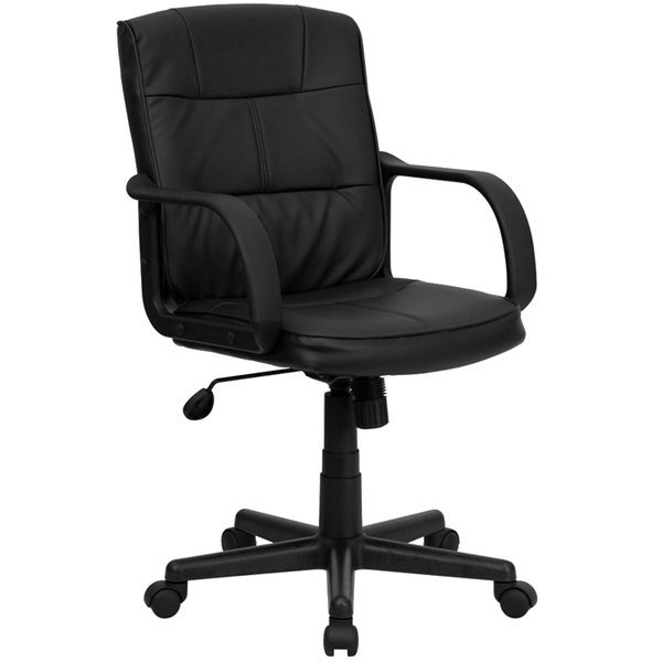 Flash Furniture GO-228S-BK-LEA-GG Mid-Back Black Leather Office Chair with Arms and Heavy-Duty Nylon Base Main Image 1