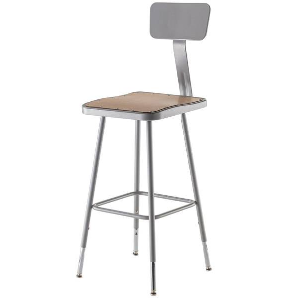 "National Public Seating 6324HB 25"" - 33"" Gray Adjustable Hardboard Square Lab Stool with Adjustable Back"