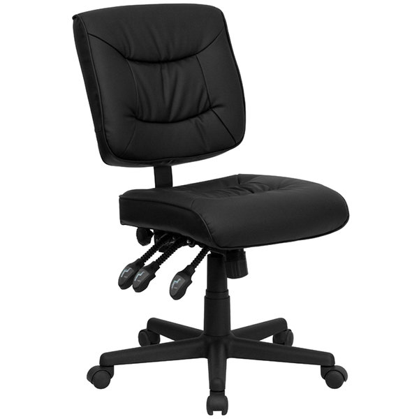 Flash Furniture GO-1574-BK-GG Mid-Back Black Leather Multi-Functional Office Chair / Task Chair Main Image 1