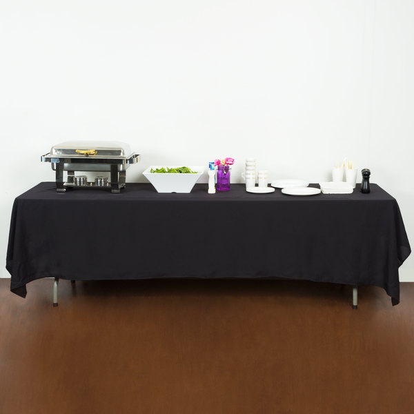 """72"""" x 120"""" Black 100% Polyester Hemmed Cloth Table Cover"""
